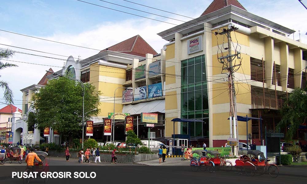 Pusat Grosir Solo PGS ( Solo Wholesale Center ) is a shopping center of batik and also the trade center in the city of Solo . Equipped with various facilities supporting the safety and comfort of untu traders as well as for the buyer ,travelers who want to buy wholesale and unit . PGS serves the needs of fashion for buyers in the number of wholesale and retail kok . Pusta Perdaganagan addition , PGS also a major destination for tourists when visiting Solo.